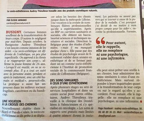 LA VOIX DU NORD 2017 - Audrey Socio-esthétique Presse 2/2